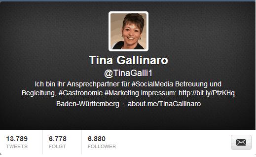 Tina Gallinaro bei Twitter