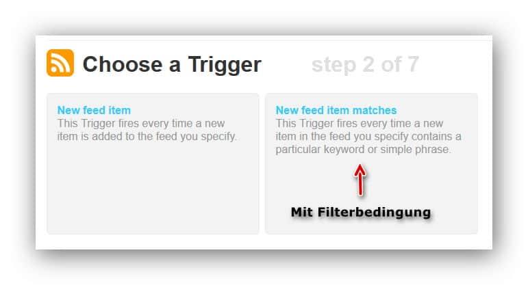 IFTTT mit Filterbedingung
