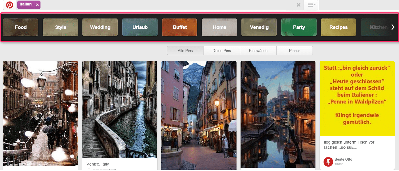 Pinterest_Suche_Italien